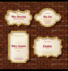 illuminated retro frames set with shining lights vector image