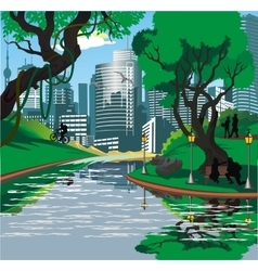 Landscape - the townspeople near the river in the vector image