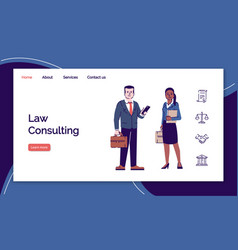 Law consulting landing page template legal vector