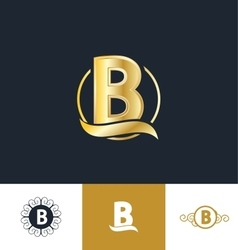 letter b gold golden logo vector image