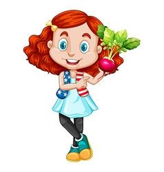 Little girl holding red radish vector