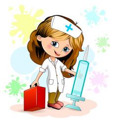 little girl nurse vector image