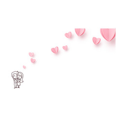 love background with line style couple boy and vector image