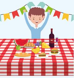 Man cartoon having picnic design vector