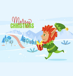 merry christmas greeting card elf carry gift vector image