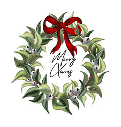 merry christmas hand-drawn watercolor leaves vector image
