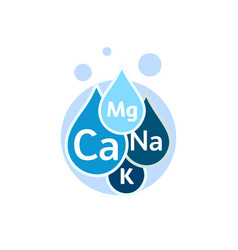 Mineral water icon blue drops with mineral vector