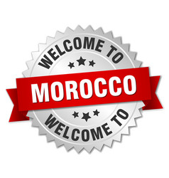 morocco 3d silver badge with red ribbon vector image