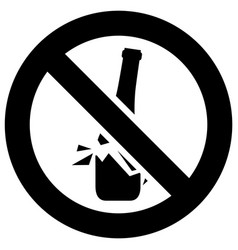 No broken glass forbidden sign modern round vector