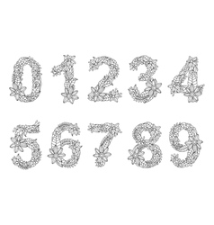 Numbers coloring book for adults vector