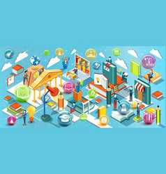 online education isometric flat design vector image