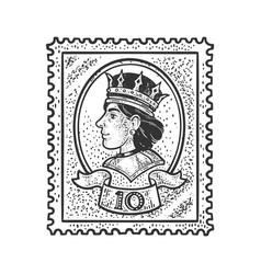 postage stamp and queen sketch vector image