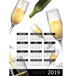 premium alcholol 2019 year calendar poster vector image