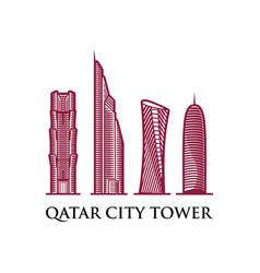 qatar city tower icon vector image