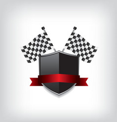 Racing flags and black shield vector image