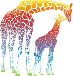 Rainbow giraffe mother with cub vector