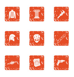 Sci icons set grunge style vector