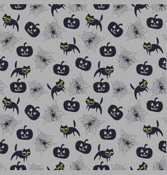 seamless pattern for halloween with cat and vector image