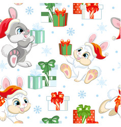 Seamless pattern with baby christmas rabbits vector