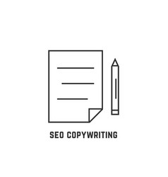 seo copywriting with thin line document vector image