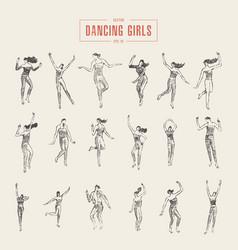 set dancing gils drawn sketch vector image