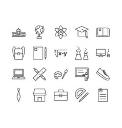 set education related line icons vector image