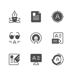 set icons of copywriting vector image