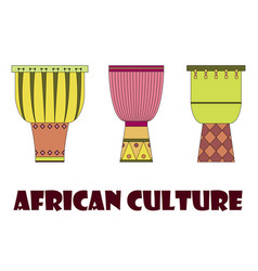 Set of three traditional african drums vector