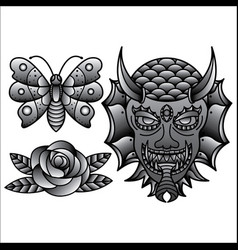 set traditional flash tattoo vector image