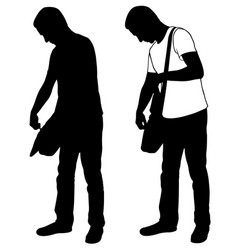 silhouettes of men checking bag vector image