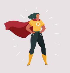 Smiling confident woman in superhero costume vector