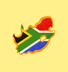 South africa - map colored with south african flag vector