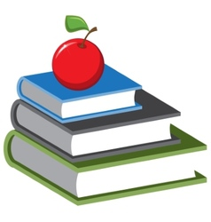 Stack of books and an apple cartoon vector image