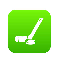 stick washer ice hockey icon green vector image