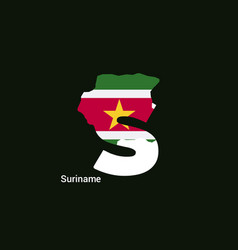 suriname initial letter country with map and flag vector image