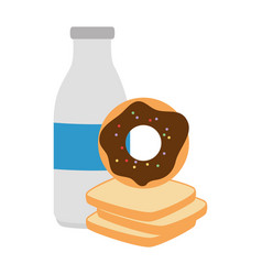 Sweet donut with bread and milk vector