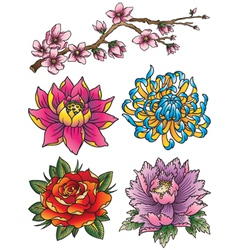 Tattoo Flower Set vector