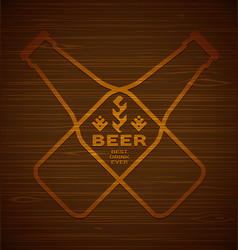 template with beer bottles vector image