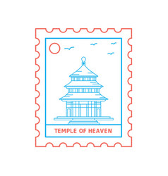 Temple of heaven postage stamp blue and red line vector