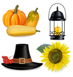 thanksgiving set realistic pumpkins and vector image
