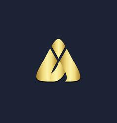 triangle a pyramid shape gold logo vector image