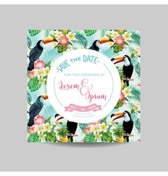Tropical Toucan Bird Wedding Card Invitation vector