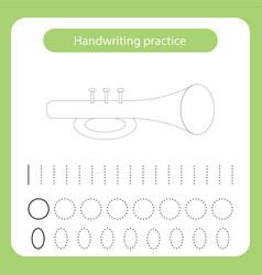 trumpet kids toys theme handwriting practice sheet vector image