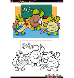 Turtles pupil characters coloring book vector