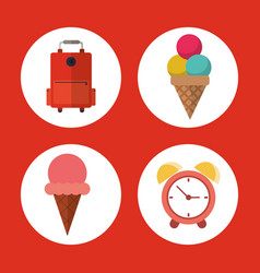 Vacation suitcase ice cream clock concept vector