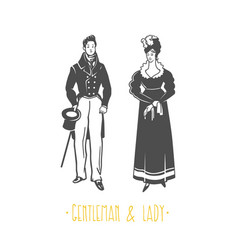 vintage lady and gentleman style vector image