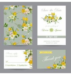 Wedding Invitation Congratulation Card Set vector image