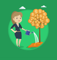 woman watering money tree vector image