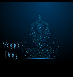 yoga low poly yoga mudra vector image