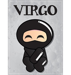 Zodiac sign Virgo with cute black ninja character vector image